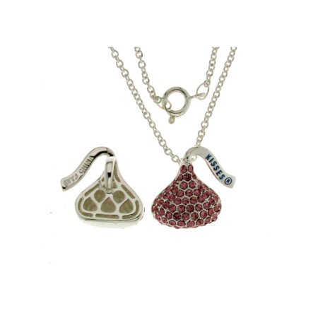 "Hershey Kiss Light Pink  Charm Pendant With Chain 18""Silver Tone"