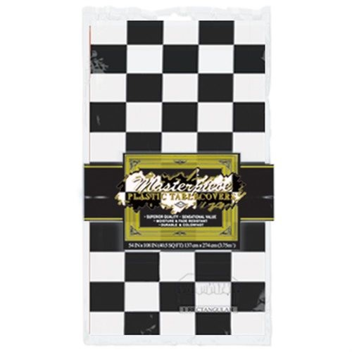 Racing Black And White Checkered Flag Table Cover Party Decoration