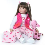 """UBesGoo 24"""" Realistic Reborn Lifelike Baby Doll Silicone Girl Toy Dressed in Pink & White"""