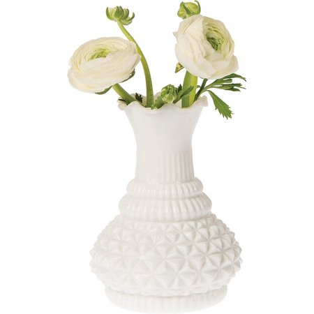 Luna Bazaar Vintage Glass Vase - 5.75-in Sophia Ruffled Genie Design, Milk White - Home Decor Flower Vase - Decorative Dining Table Centerpiece for Weddings Parties Events - Ideal House Warming Gift ()