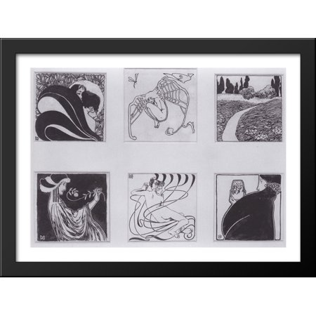 Vignettes for the catalog Secessionausstellung, 1898 38x28 Large Black Wood Framed Print Art by Koloman Moser