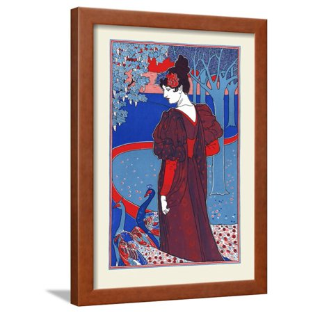 A Woman Stands Looking At Two Peacocks Framed Print Wall Art By Louis