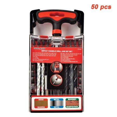 Toolman Drill Bit Screwdriver Set Universal fit 50 pcs T handle Tool Magnetic works with DeWalt Makita Ryobi