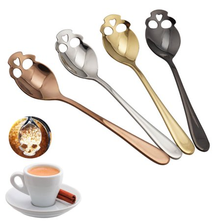 - 4 Pcs Skull Stainless Steel Coffee Drink Mixing Spoon Teaspoon