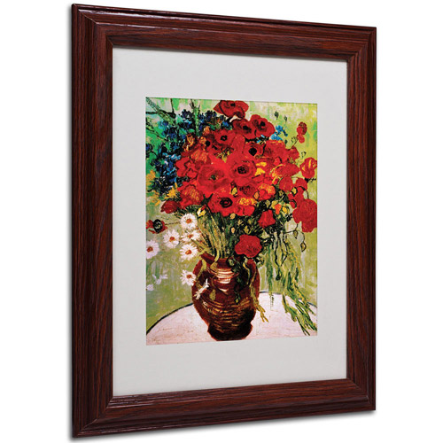 Trademark Art 'Daisies and Poppies' Framed Matted Art by Vincent van Gogh