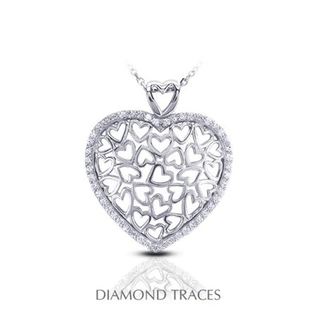 Diamond Traces 0.54 Carat Total Natural Diamonds 18K White Gold Pave Setting Heart Shape Fashion Pendant - image 1 of 1