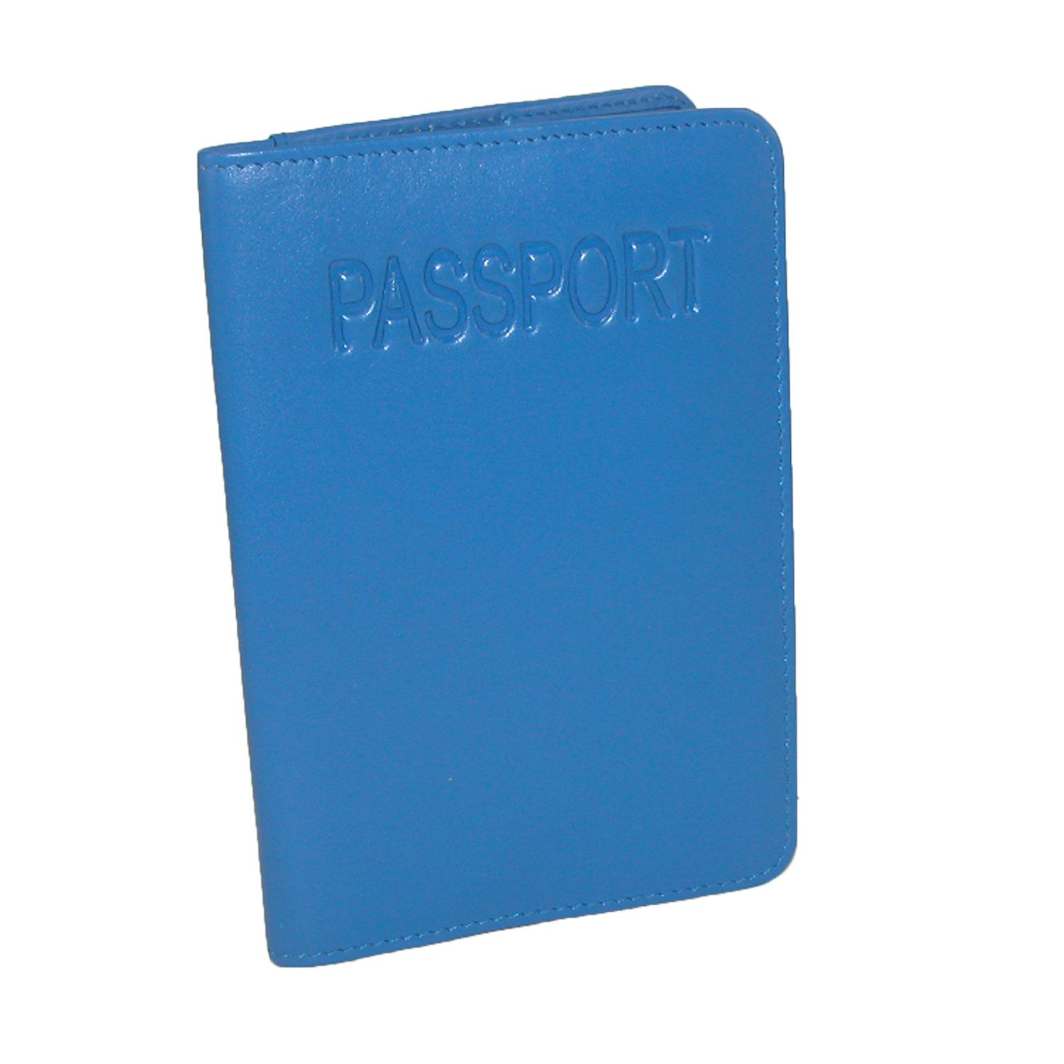 Cobalt CTM Leather Passport Cover with Pocket