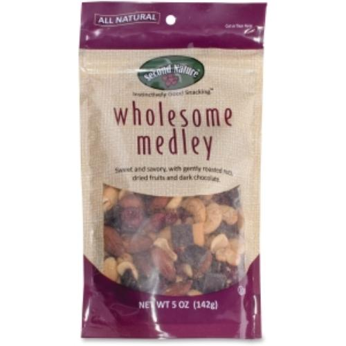 Second Nature Wholesome Medley Snack Blend - Sodium-free, Cholesterol-free - Sweet And Savory - Pouch - 5 Oz - 12 / Carton (sn01108)
