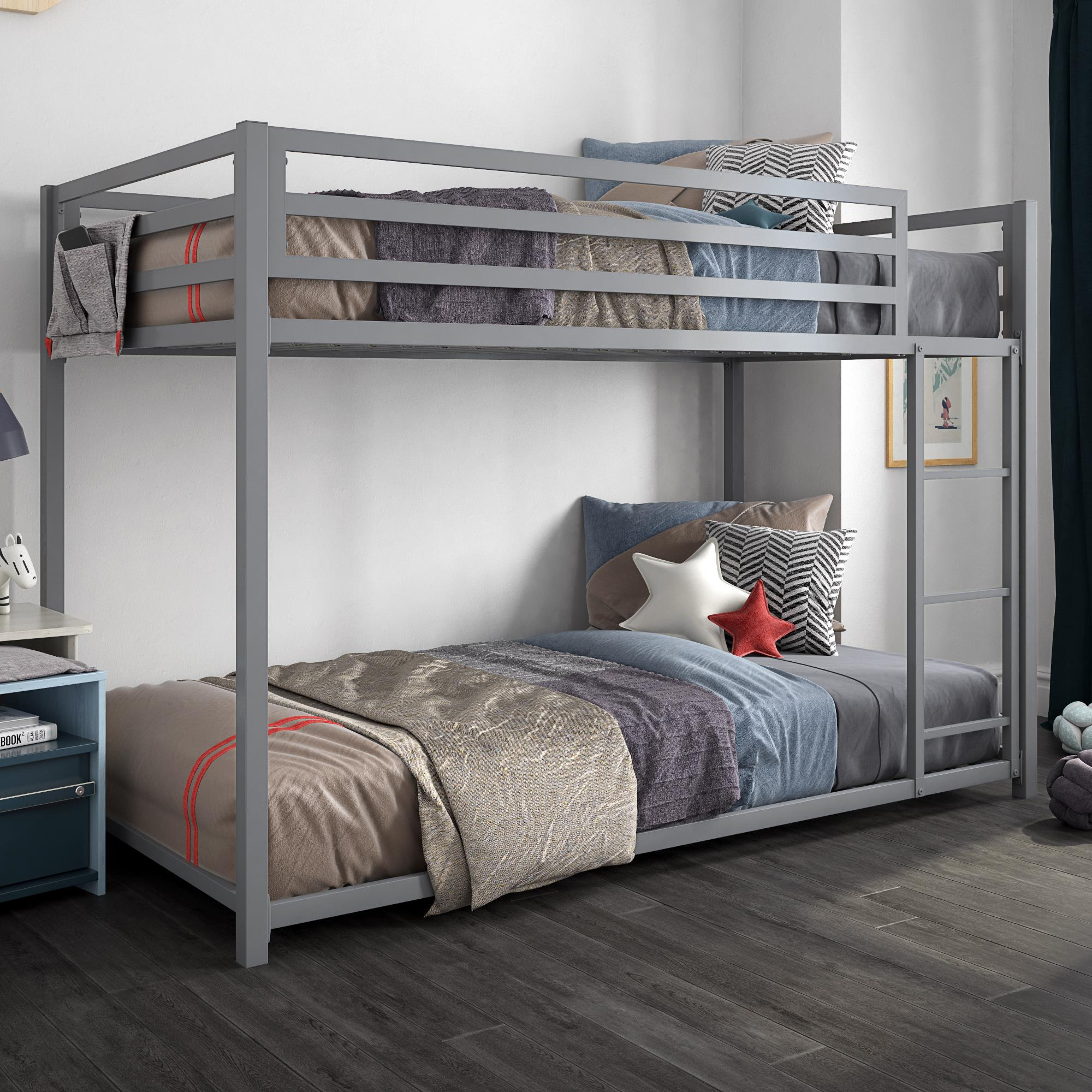 Picture of: Dhp Miles Metal Twin Twin Bunk Bed Silver Walmart Com Walmart Com