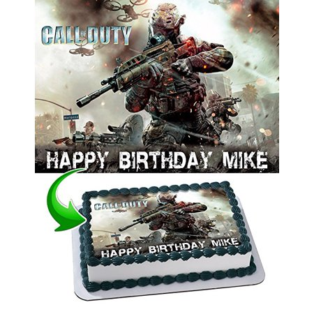 Call of Duty Edible Cake Topper Personalized Birthday 1/2 Size Sheet Decoration Party Birthday Sugar Frosting Transfer Fondant Image (Call Of Duty Birthday Party)