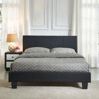 """Double Upholstered Platform Bed 54"""" , Black"""