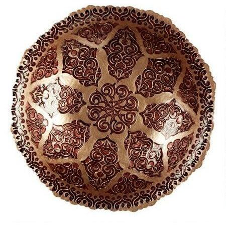 Marbella Hand Painted Glass Damask Decorative Serving Fruit Bowl (16