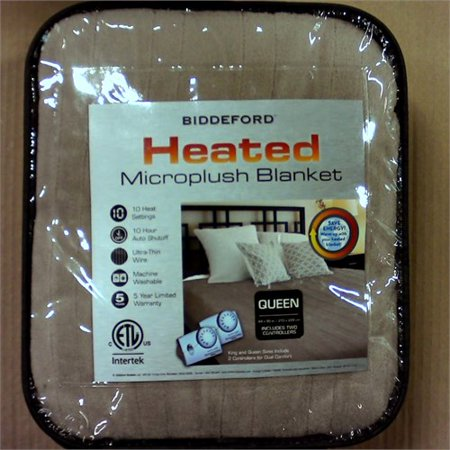 Biddeford Heated Blanket with 10 Heat Settings, 10 Hour Auto Shutoff and Ultra Thin Wire, Taupe (Queen)
