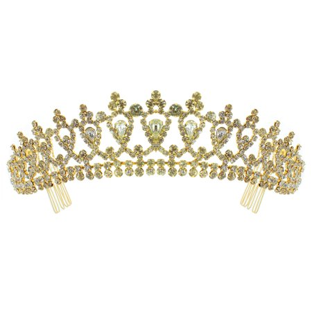 Kate Marie 'Alba' Classic Rhinestones Crown Tiara with Hair Combs in Gold