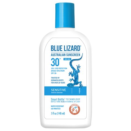 Blue Lizard Australian Sunscreen, Sensitive Skin, Broad Spectrum SPF 30+, 5