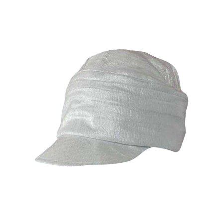 White Metallic Pleated Soft Newsboy Cap Hat