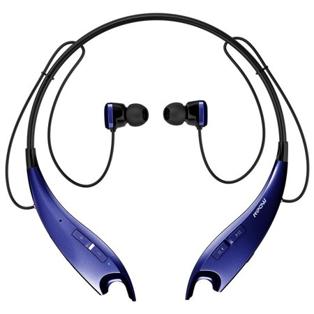 5562b67e673 Mpow Jaws V4.1 Bluetooth Headphones Wireless Neckband Headset Stereo Noise  Cancelling Earbuds w/ Mic (Blue) - Walmart.com