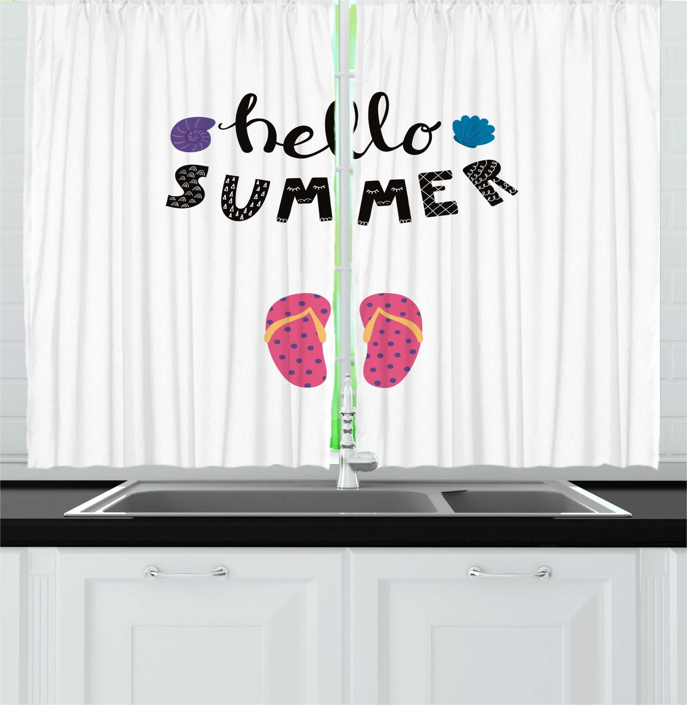 Summer Curtains 2 Panels Set Hello Holiday Hot Days Flip Flops Pretty Seashells Typography Cursive Window Drapes For Living Room Bedroom 55 W X 39 L Charcoal Grey Multicolor By Ambesonne Walmart Com Walmart Com
