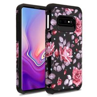 "Samsung Galaxy S10e (5.8 inch) Phone Case Protective Shockproof Hybrid Armor Rubber Rugged Heavy Duty Cover Pink Roses Flowers Slim Phone Case for Samsung Galaxy S10E S10 e (5.8"")(2019 Model)"