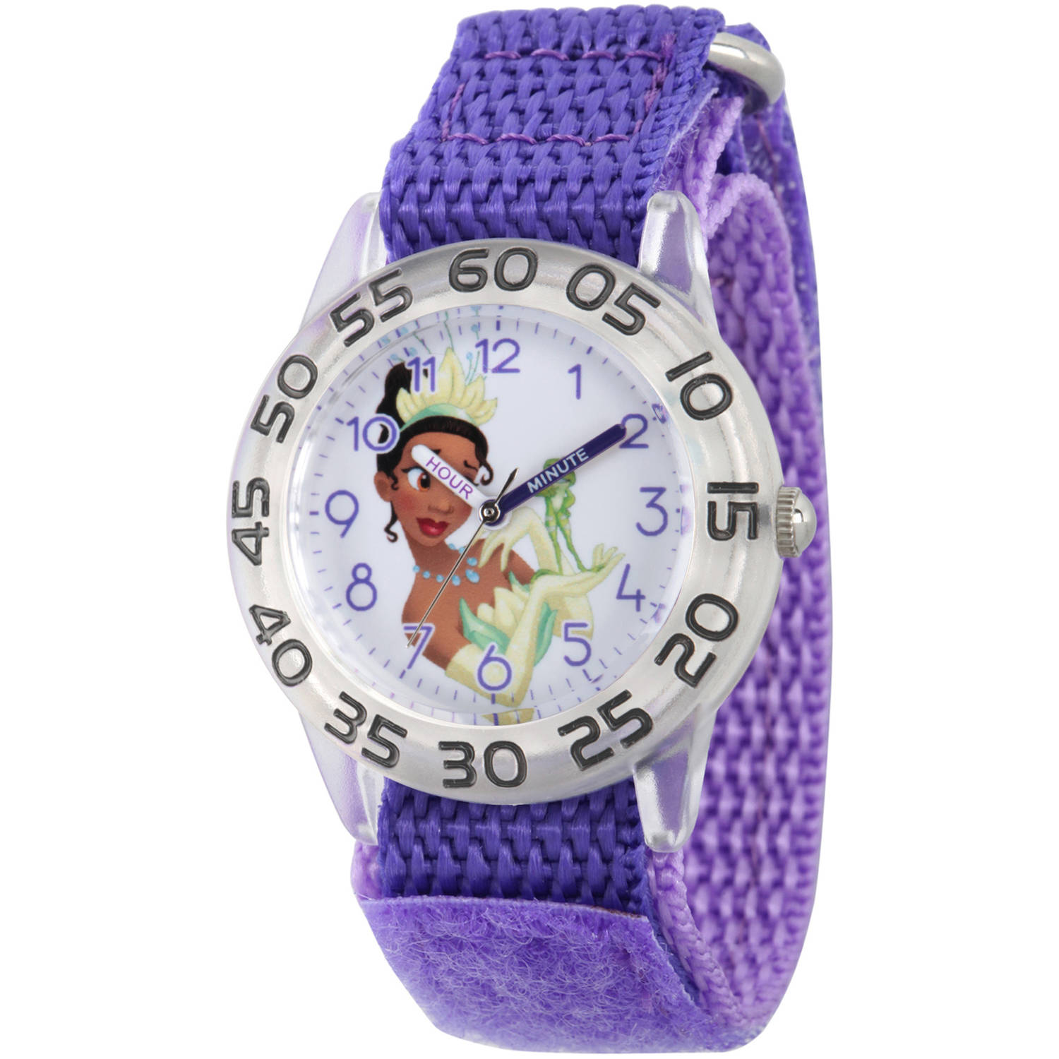 Disney Princess Tiana Girls' Clear Plastic Time Teacher Watch, Purple Hook and Loop Nylon Strap