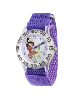 Princess Tiana and Prince Naveen as Frog Girls' Clear Plastic Time Teacher Watch, Purple Hook and Loop Nylon Strap