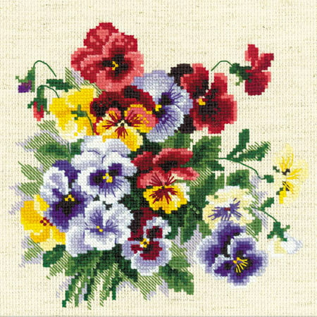 Pansy Medley Counted Cross Stitch Kit, 8
