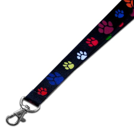 PinMart's Multi-color Red Paw Print School Mascot Sports Lanyard w/ Safety Release](Red Lanyard)