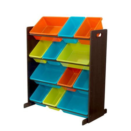 KidKraft Wooden Sort It & Store It Bin Unit with 12 Plastic Bins - Brights & Espresso