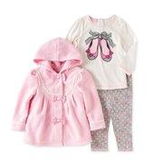 Kids Headquarters Infant Girls Ballet Shirt Pink Bow Leggings Fleece Jacket Set