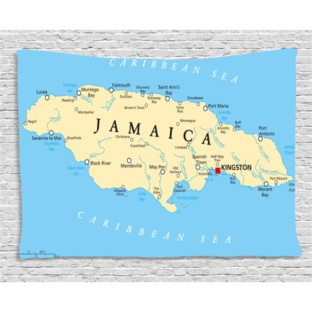 Jamaican Tapestry, Map of Jamaica Kingston Caribbean Sea Important Locations in Country, Wall Hanging for Bedroom Living Room Dorm Decor, 60W X 40L Inches, Pale Blue Beige Black, by Ambesonne