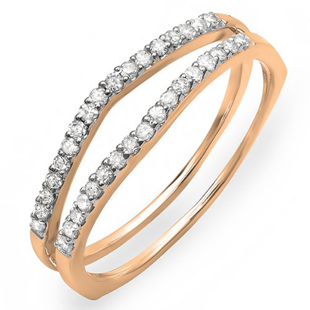 0.25 Carat (ctw) 14K Gold Round White Diamond Ladies Anniversary Enhancer Guard Wedding Band 1/4 CT