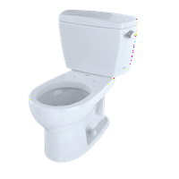 TOTO® Drake® Two-Piece Round 1.6 GPF Toilet with Right-Hand Trip Lever, Cotton White - CST743SR#01