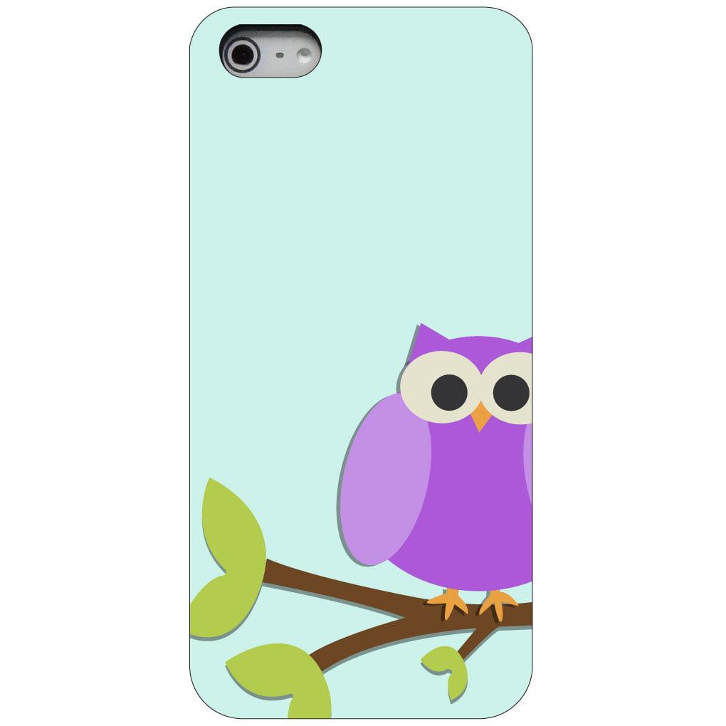 CUSTOM Black Hard Plastic Snap-On Case for Apple iPhone 5 / 5S / SE - Purple Owl Cartoon
