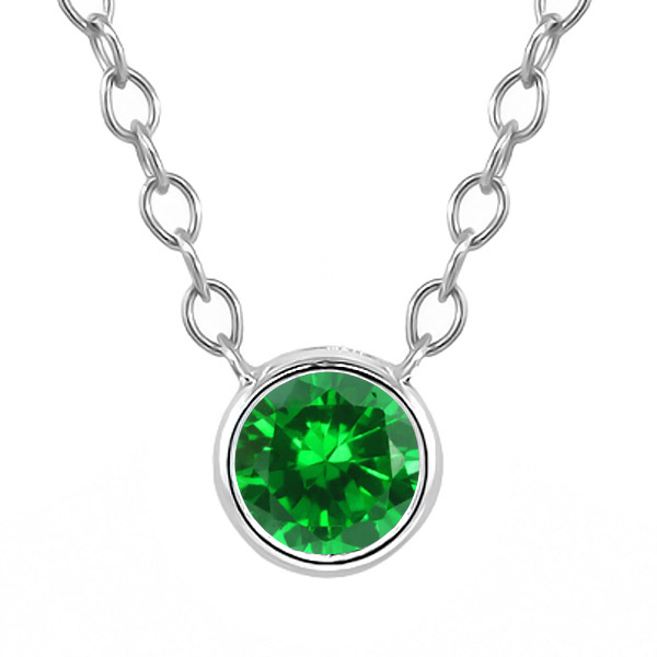 0.84 Ct Round Green Simulated Emerald 925 Sterling Silver Pendant With Chain