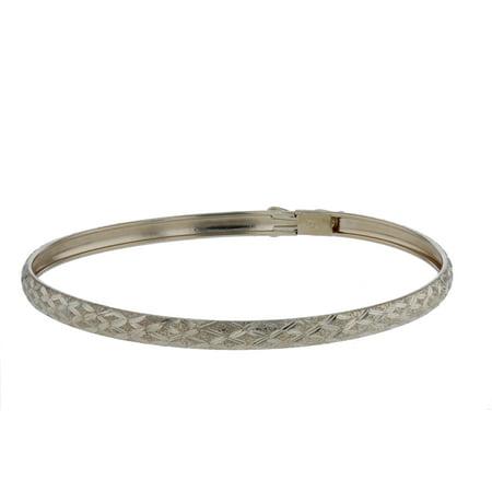 "Floreo 10k Yellow Gold bangle bracelet Flexible Round with Diamond Cut Design (0.16"") Diamond Design Bangle"