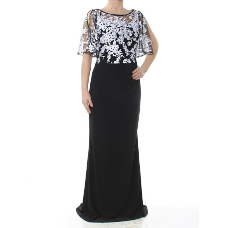 RALPH LAUREN Womens Black Lace Overlay Gown Sleeveless Boat Neck Full-Length Sheath Formal Dress  Size: