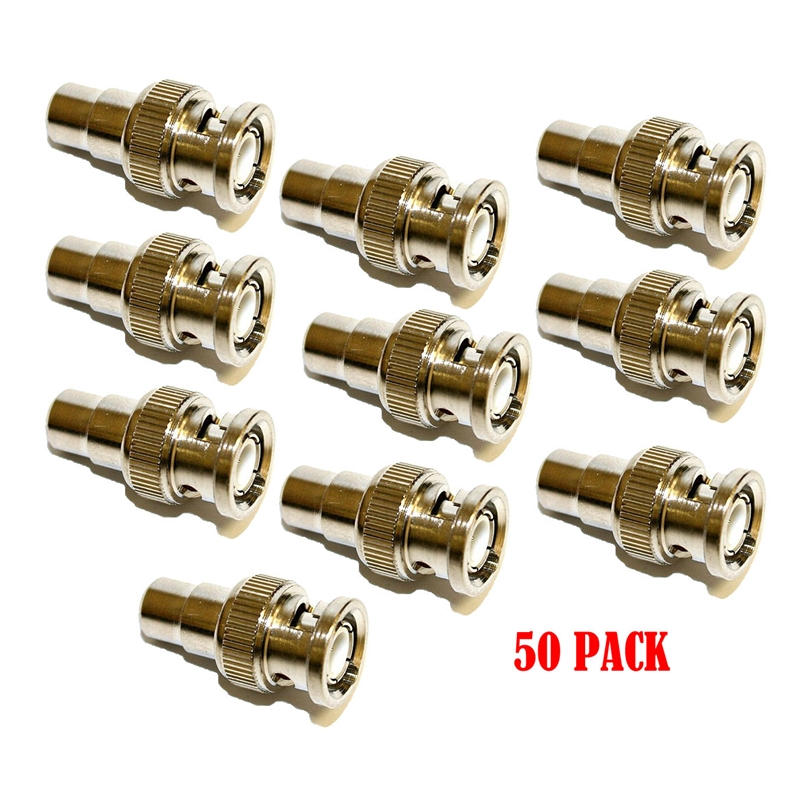 Coaxial Video Cable BNC Male Plug to RCA Female Jack Adapter Connector (50/pack)
