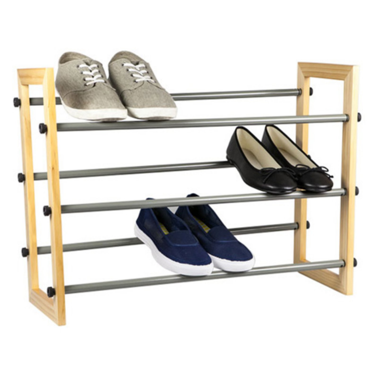 Sunbeam 3-Tier Expandable Shoe Rack with Wood Panel