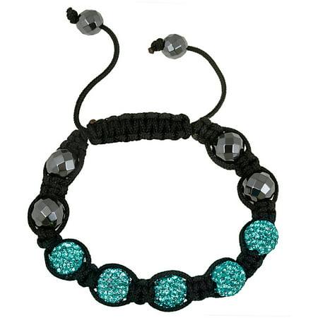Crystal Aqua Fireball & Hematite 10mm Adjustable Bracelet, (Hematite Tone Crystal)