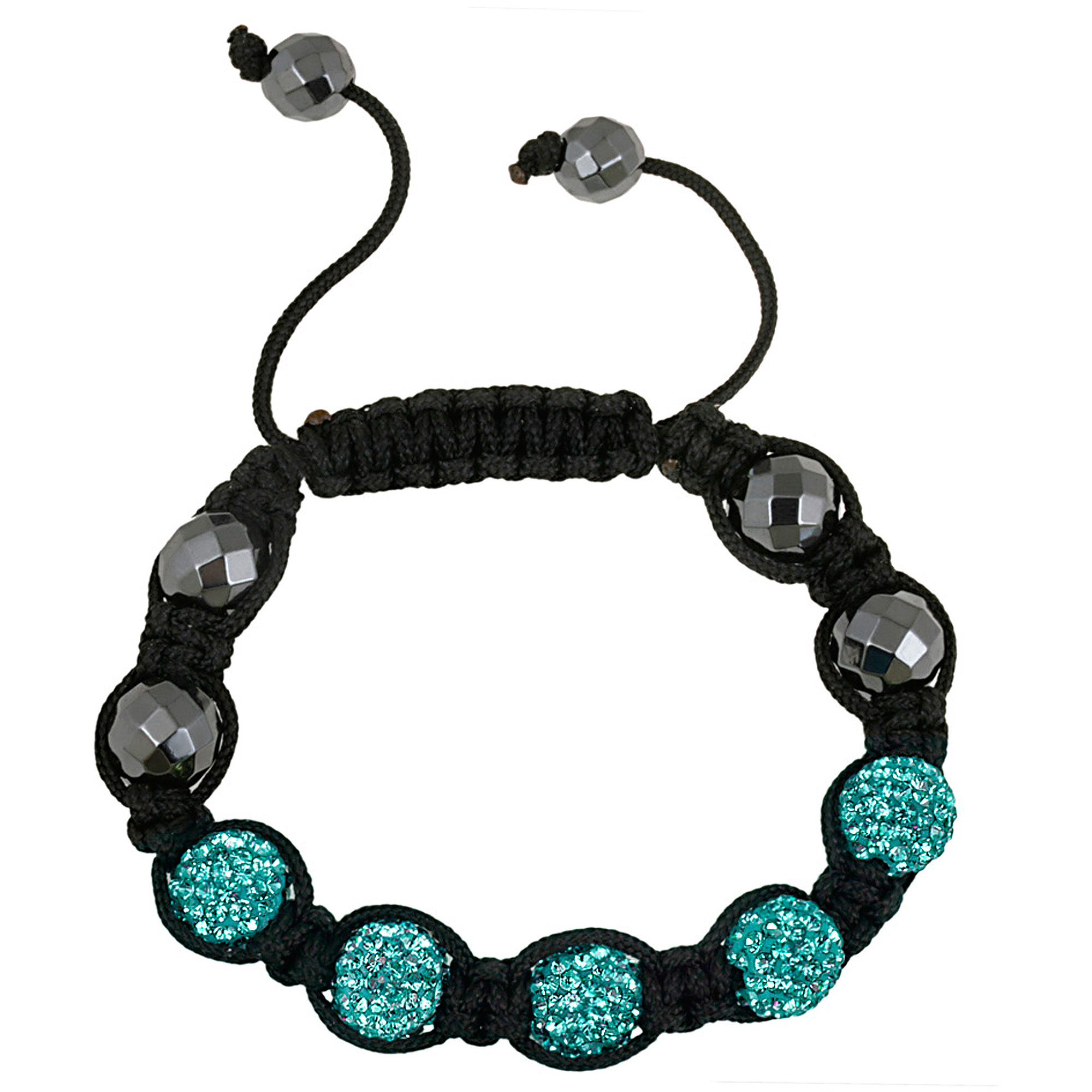 Crystal Aqua Fireball & Hematite 10mm Adjustable Bracelet, 7.5""