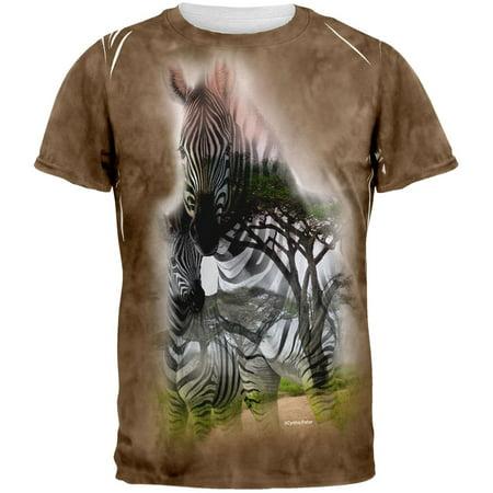 - Zebra Savanna Double Exposure Tie Dye All Over Adult T-Shirt