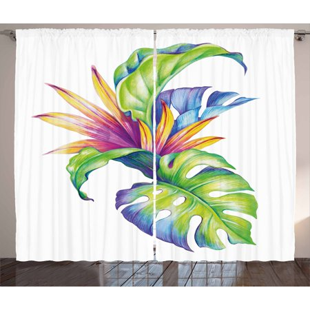 Plant Curtains 2 Panels Set, Tropical Leaves and Monstera with Abstract Color Scheme Hawaiian Floral Elements, Window Drapes for Living Room Bedroom, 108W X 63L Inches, Multicolor, by Ambesonne