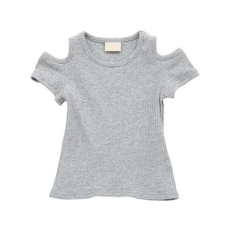 6623e5941ac OUMY - OUMY Baby Kids Girl Off-shoulder Shirt Toddler Short Sleeve Crop Tops  Tee - Walmart.com