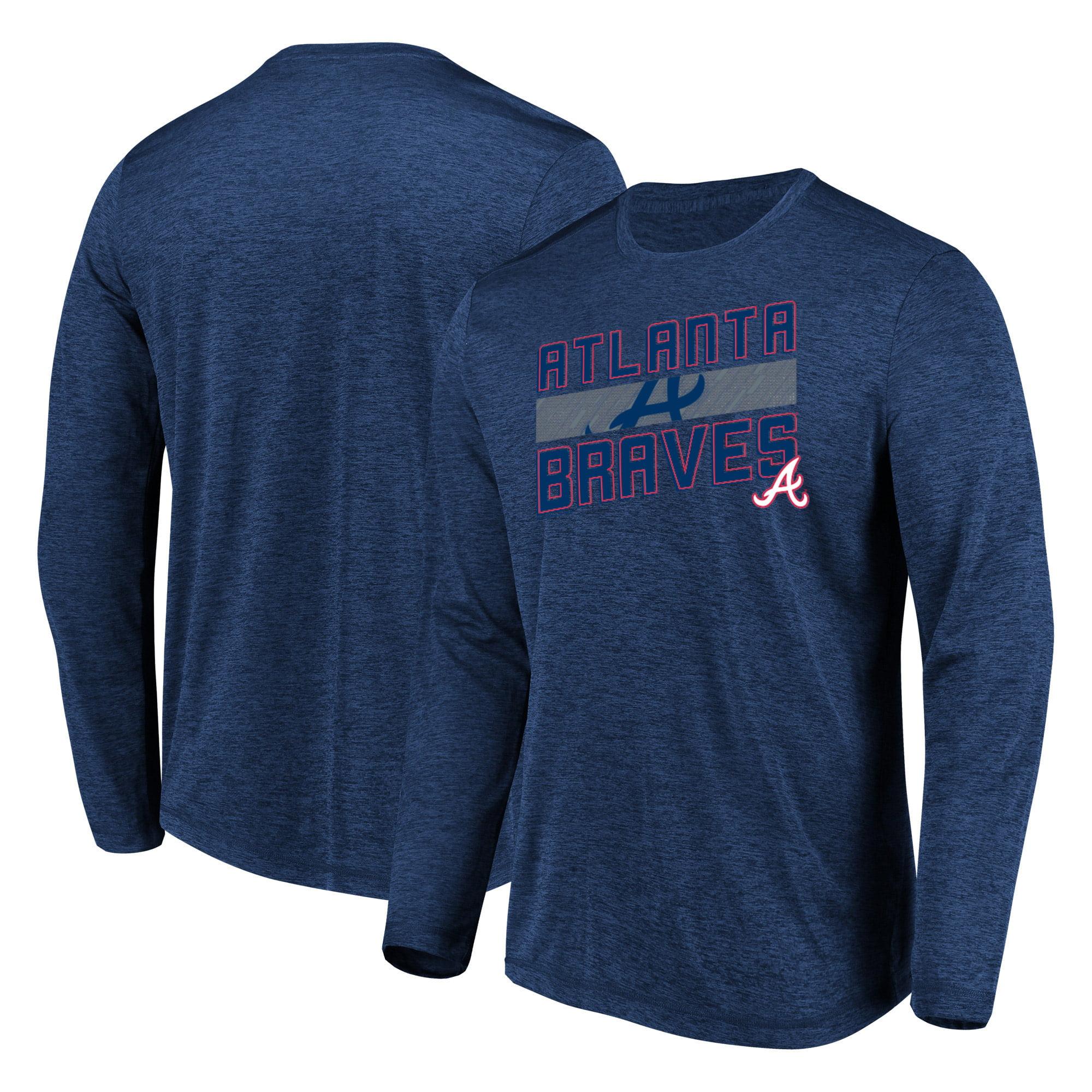 Men's Majestic Heathered Navy Atlanta Braves Big & Tall Long Sleeve Team T-Shirt