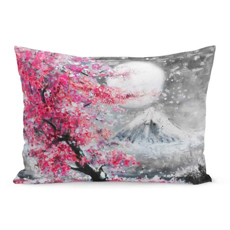 ECCOT Watercolor Tree Oil Painting Landscape Sakura and Mountain Japan Pillowcase Pillow Cover Cushion Case 20x30 inch