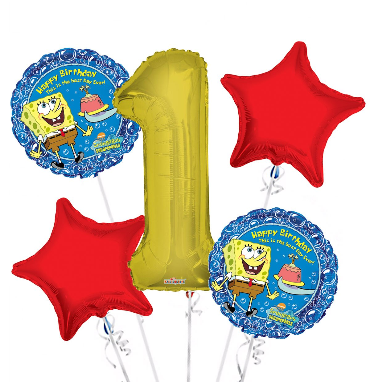 Sponge Bob Balloon Bouquet 1st Birthday 5 pcs - Party Supplies, 1 Giant Number 1 Balloon, 34in By Viva Party