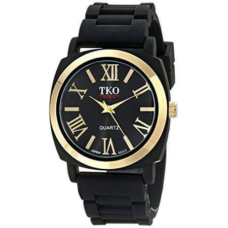 Black Bezel Watch - TKO Women's Round Metal Gold Bezel Black Soft Rubber Band Roman Numeral Watch TK641BK