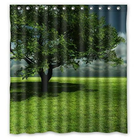 GreenDecor Nature World Wildlife Exuberant Grass Green Verdant Waterproof Shower Curtain Set with Hooks Bathroom Accessories