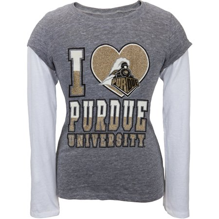 - Purdue Boilermakers - Glitter I Heart Logo Girls Youth 2fer Long Sleeve T-Shirt