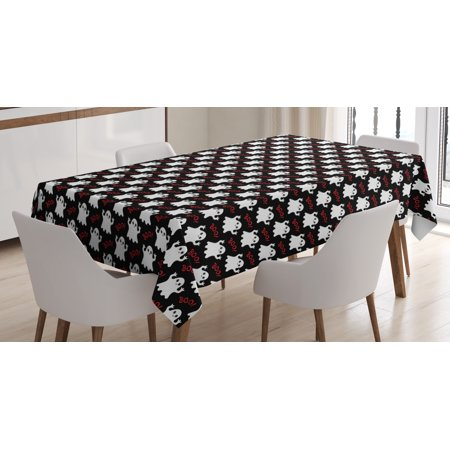 Ghost Tablecloth, Happy Halloween Theme with Silly White Ghosts on Black with Boo Texts, Rectangular Table Cover for Dining Room Kitchen, 60 X 84 Inches, Black White Vermilion, by Ambesonne](Happy Halloween Logo Black And White)